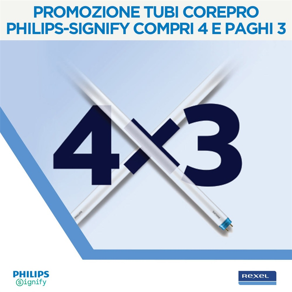 Promozione Tubi CorePro Philips-Signify Compri 4 e paghi 3