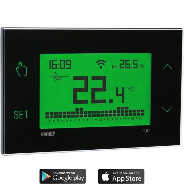 Cronotermostato touch screen wi-fi da parete con programmazione settimanale e alimentazione da rete elettrica