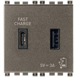 Alimentatore USB A+C 5V 3A 2M Metal