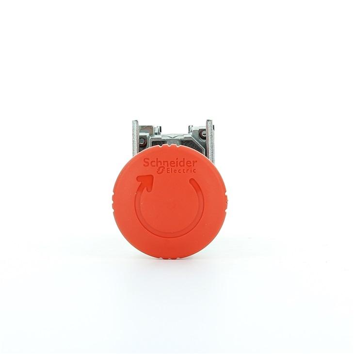 Pulsante arresto demergenza con testa a fungo diametro 22mm sblocco rotazione 1NO + 1NC