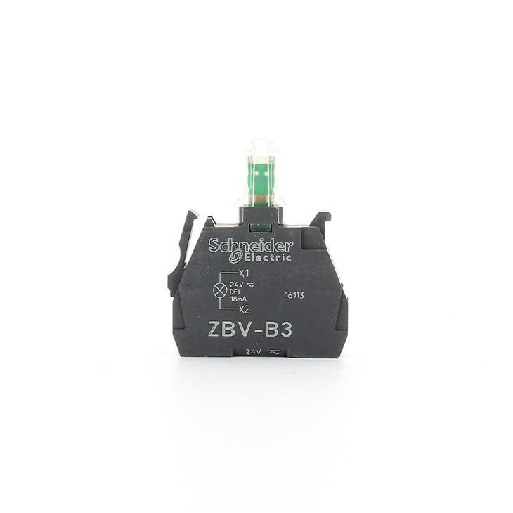 Blocco contatti luminoso Schneider Electric, 24 V, terminali a Vite, LED Verde