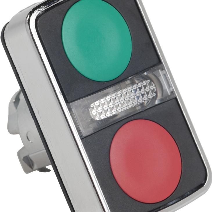 Attuatore pulsante tipo Verde, I/O, rosso ZB4BW7A3740 Schneider Electric serie Harmony XB4, Verde/Rosso, marcatura: I/O