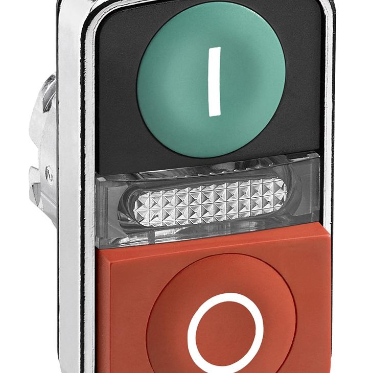 Attuatore pulsante tipo Verde, I/O, rosso ZB4BW7L3741 Schneider Electric serie Harmony XB4, Verde/Rosso, marcatura: I/O