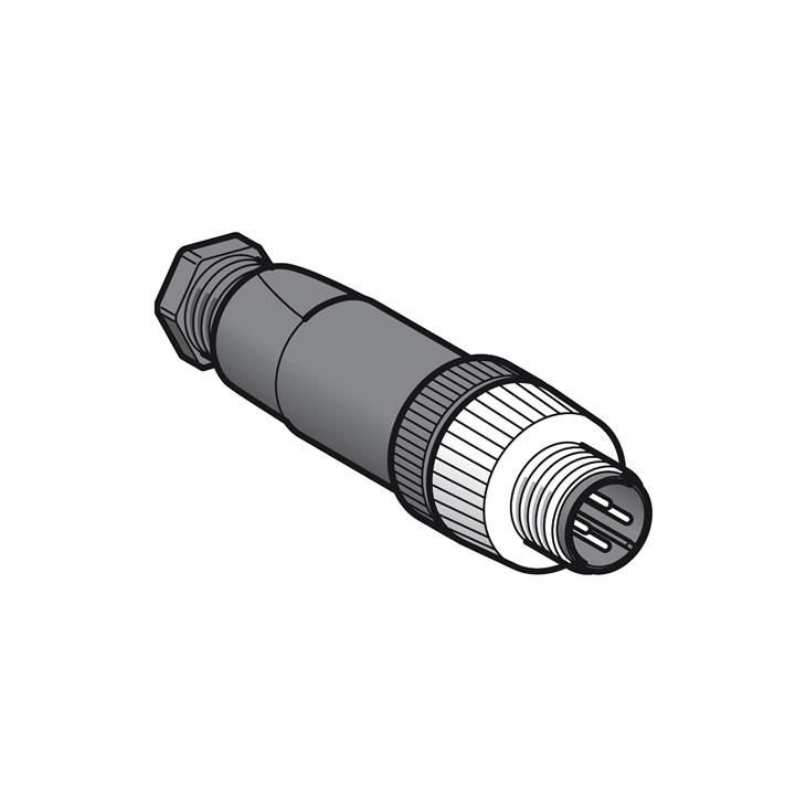 Maschio, M12, 4 pins, connettore dritto, pressacavo Pg7.