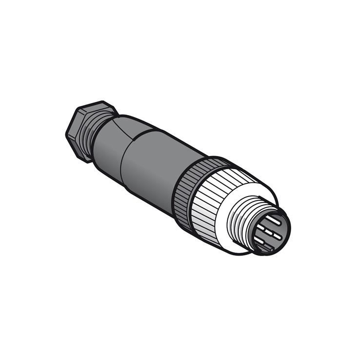 Maschio, M12, 5 pins, connettore dritto, pressacavo Pg7.