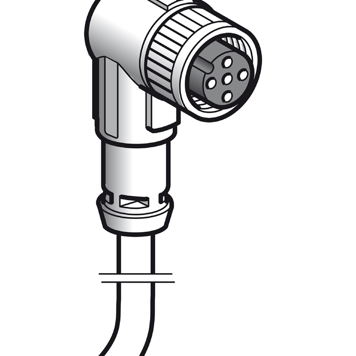 Connettori precablati XZ, a 90° femmina, M12, 4 pins, cavo PUR 10m.