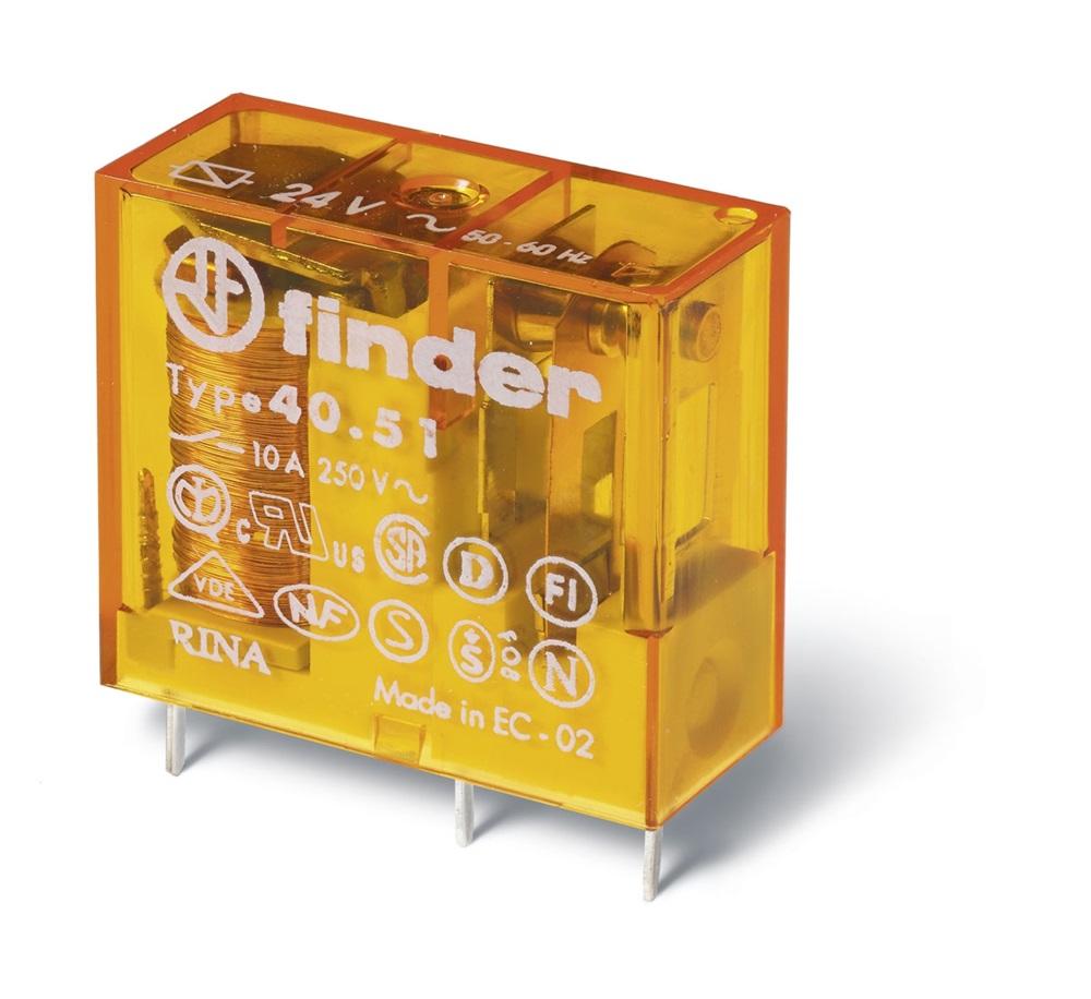 Mini relè per circuito stampato 1 contatto, 10 A DC 24 V AgNi Standard