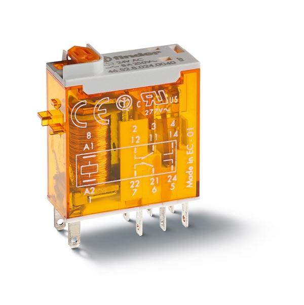 Minirelè industriale AC (50/60Hz) 24 V AgNi Pulsante di prova + LED (AC) +  indicatore meccanico