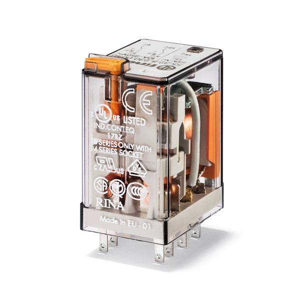 Relè industriale DC 12 V AgNi Pulsante di prova + LED + diodo (positivo  in A1/13, DC polarità standard) + indicatore meccanico