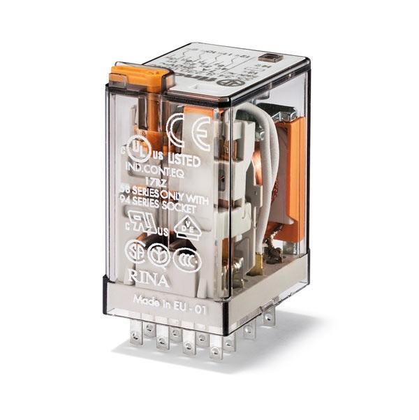 Relè industriale DC 24 V AgNi Pulsante di prova + LED + diodo (positivo  in A1/13, DC polarità standard) + indicatore meccanico