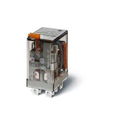 Relè di potenza DC 24 V AgNi Pulsante di prova + LED + diodo (positivo  in A1/7, DC polarità standard) + indicatore meccanico
