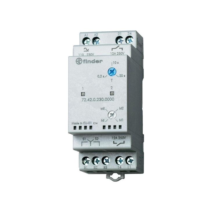 Relè di controllo livello per pompe 12A 110-240 V DC/AC 2 contatti NA indipendenti