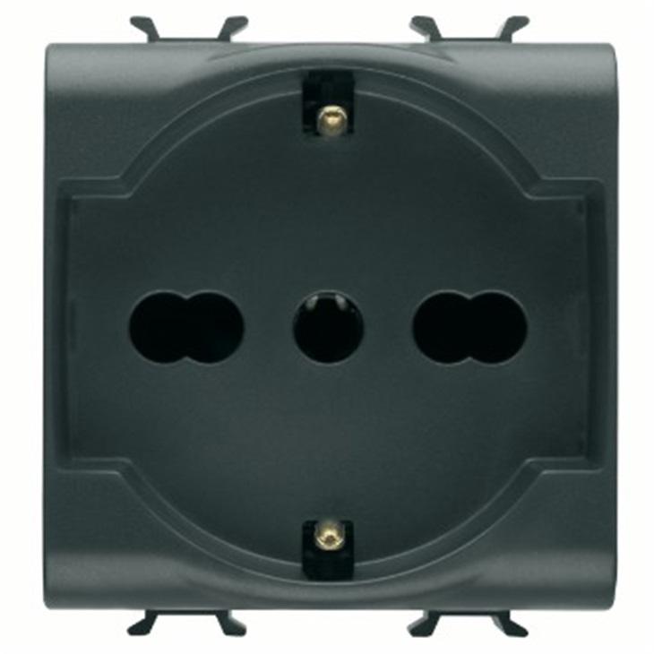 Presa Standard italiano/tedesco Chorus 2 Moduli nero  2P+T 16A Bivalente P30-17