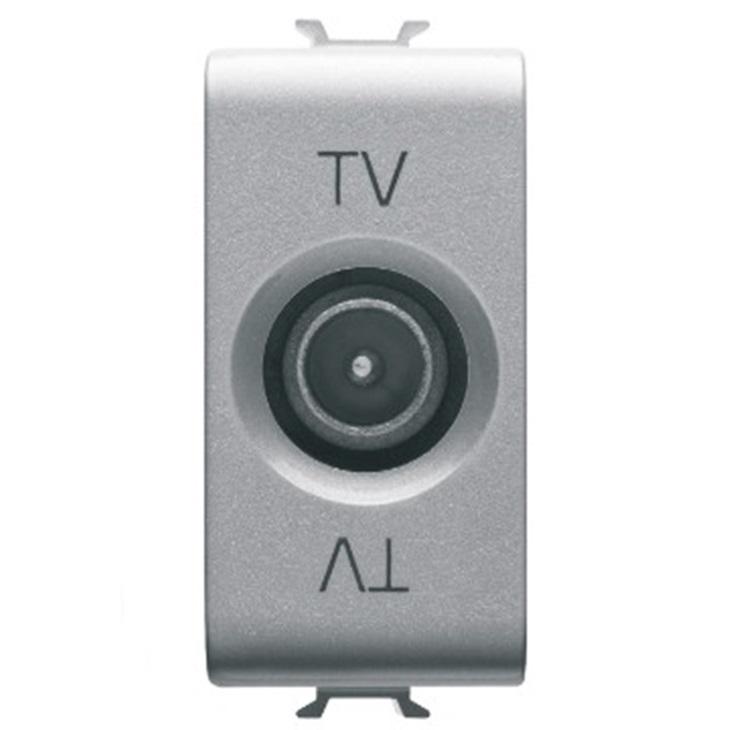 Presa TV diretta schermatura di classe A con connettore maschio 9,5mm diretto passaggio di corrente 1 modulo
