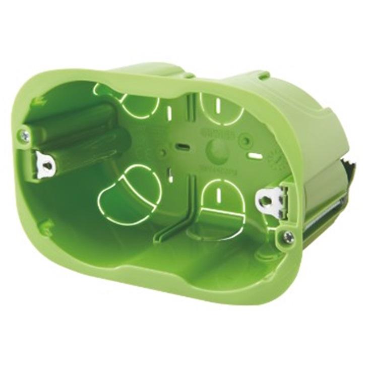 Scatola rettangolare con inserti di fissaggio 3 moduli per pareti mobili leggere verde