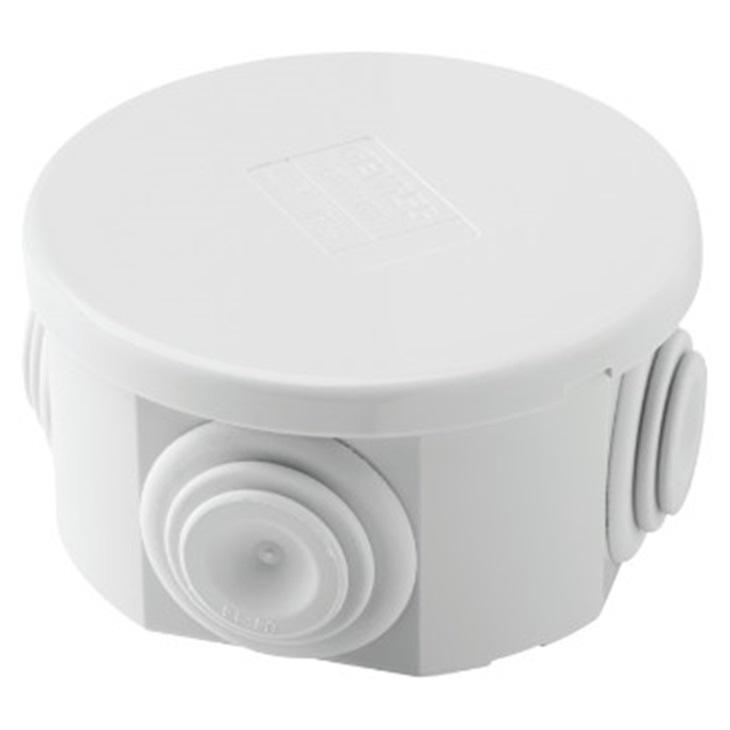 Cassetta di derivazione con coperchio basso a pressione IP44 diametro 65mm con pareti passacavi