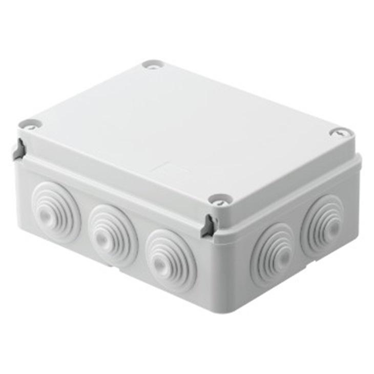 Cassetta di derivazione con coperchio basso a vite IP55 190X140X70 pareti con passacavi