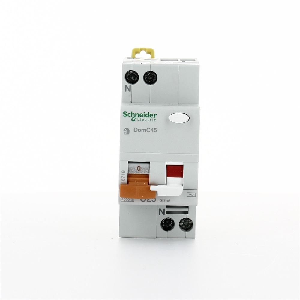 Interruttore magnetotermico DomC45 1P+N C 25A 30mA 4500A tipo AC