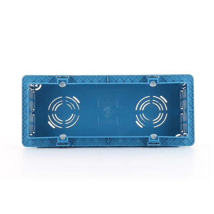 Scatola da incasso rettangolare unificata 6/7 moduli per pareti in muratura azzurro