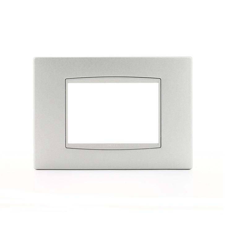 Placca Classic 3 moduli metallo argento matt Eikon
