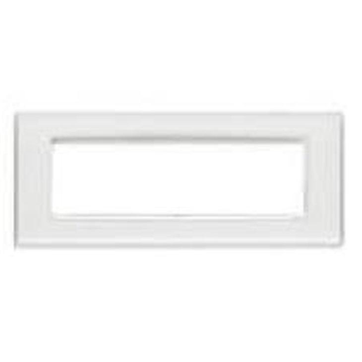 Placca Classic 7 moduli, tecnopolimero, Reflex ghiaccio, cornice bianca Eikon