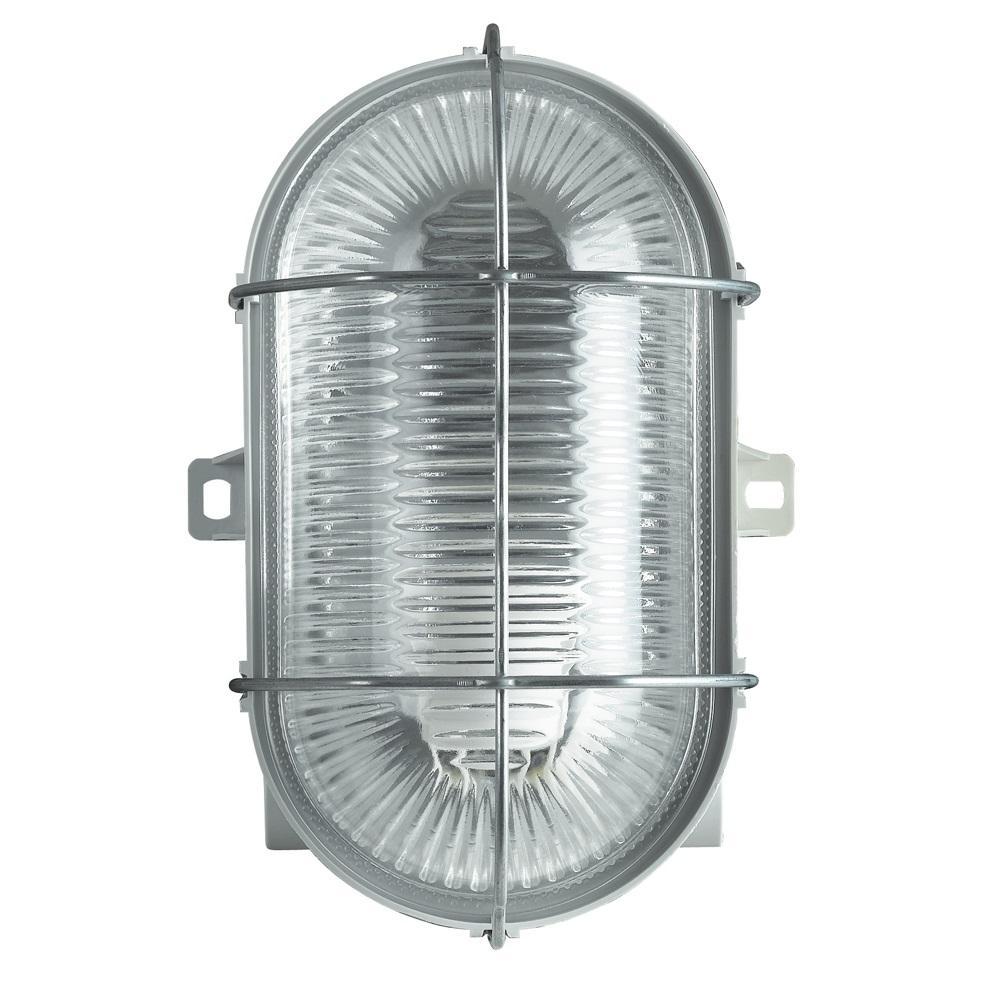 Portalampada ovale con vetro e griglia di protezione per lampade E27 Unilux 100W 3 entrate filettate 16/20mm