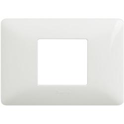 Placca 2 moduli centrati colore bianco
