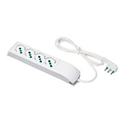 Ciabatta Multipresa a 4 uscite bipasso italo/tedesche 2P+T 16A cavo 1,5 m 3G1 H05VV-F