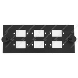Modulo vuoto per 6 bussole SC simplex o LC duplex Nero