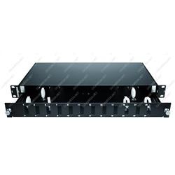 Cassetto ottico vuoto scorrevole per 12 bussole SC duplex Nero
