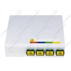 Box di terminazione ottica dotata di 4 adattatori SC/APC simplex + valvola di sicurezza