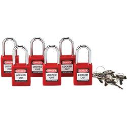 Set di 6 lucchetti per blocco con ansa in alluminio 38 mm rosso