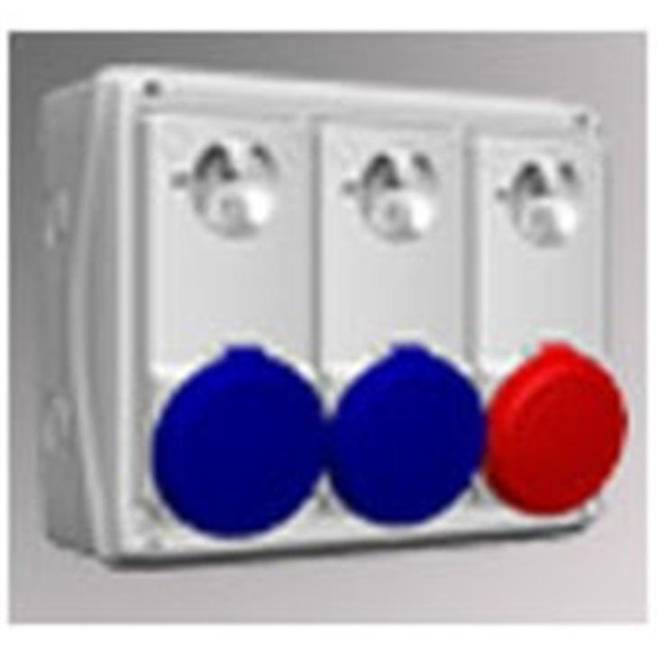 Modulo Schneider Kaedra IP65 + 3 prese interbloccate Unika