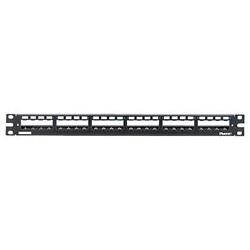 Barra patch panel 24 connettori con passacavo in acciaio inossidabile nera